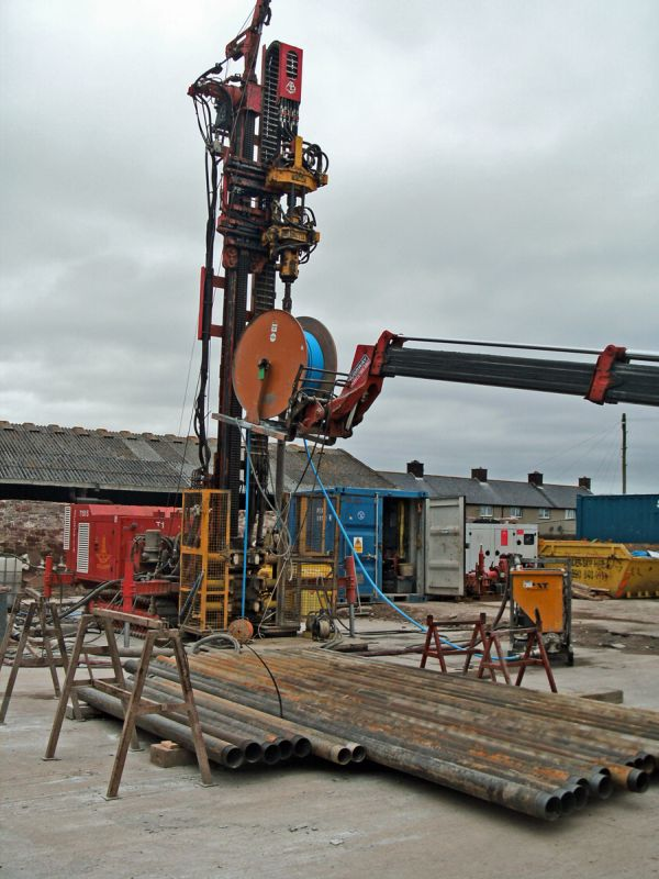 The drilling rig set up and ready to start.
