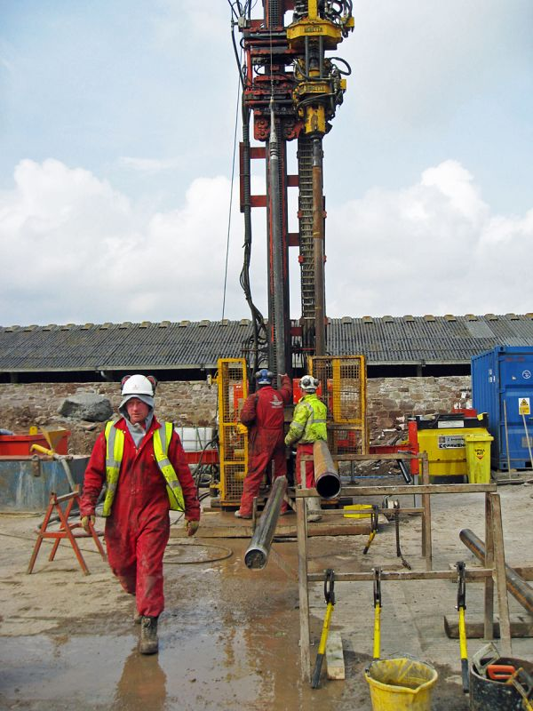 The drilling rig in action.